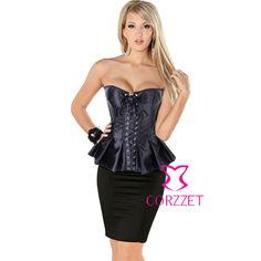 c46e837438 Sexy Satin Lace Up Overbust Skirted Corset Burlesque Long Line Corsets  Corpete Peplum Gothic Bustier Women Shaper Clothing