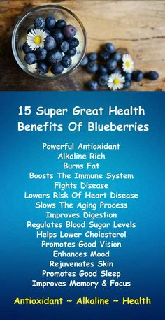 15 Super Great Health Benefits of Blueberries; the potent antioxidant loaded, alkaline rich superfruit. Learn about the antioxidant alkaline qualities of Kangen Water; the hydrogen rich, ionized water that neutralizes free radicals that cause oxidative stress which can lead to a variety of health issues including disease such as cancer. Change your water, change your life. #Blueberries #Health #Benefits