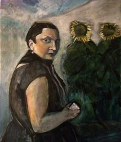 Woman and Sunflowers. Oil painting by Phil Barron.