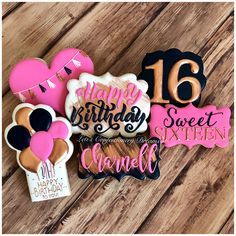 Sweet 16 - Decoration For Home Fancy Cookies, Iced Cookies, Cute Cookies, Cookies Et Biscuits, Sugar Cookies, Happy Birthday Cookie, Sweet 16 Birthday Cake, Birthday Cookies, 16th Birthday