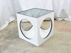 Mid Century Modern Cube Side End Table with Circles and Glass Top