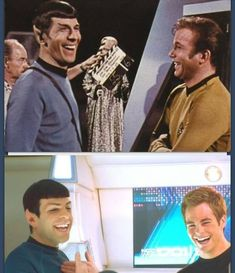 Star Trek then and now. A+ casting for the new Star Trek movies Star Wars, Star Trek Tos, Star Trek Meme, Science Fiction, Alien Nation, Jennifer Aniston, Zachary Quinto, Starship Enterprise, Stephen Hawking