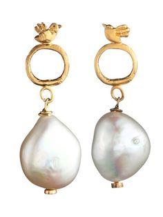 Birds with Pearls Earrings by by Natalie Frigo from By Natalie Frigo