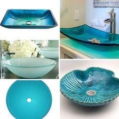 Best Useful Ideas: Coastal Glam Shabby Chic coastal office shades.Coastal Style Home coastal bathroom fixtures. Coastal Bathrooms, Beach Bathrooms, Small Bathroom, Bathroom Sinks, Blue Bathrooms, Bathroom Ideas, Modern Bathroom, Bathroom Mural, Brown Bathroom