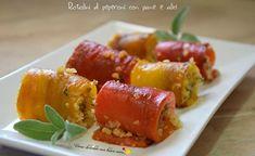 Ecco una nuova ricetta sfiziosissima: i rotolini di peperoni con pane e alici. Ricetta versatile che puo' essere servita come antipasto o contorno.