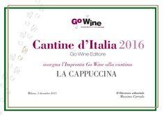 Premio Impronta miglior ospitalità' Go Wine 2016  http://www.lacappuccina.it/en/ecoblog-la-cappuccina/