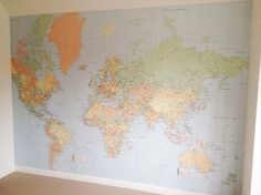 world map wallpaper....sticking pins in this of everywhere you've been and everywhere you want to go