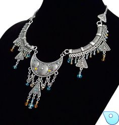 Bib necklace Crystal necklace Bohemian necklace by CervelleDoiseau, $54.95