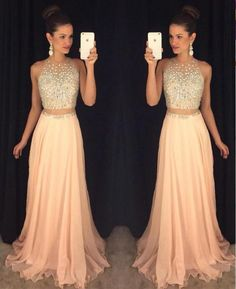 The blush pink 2 pieces prom dresses are fully lined, 4 bones in the bodice, chest pad in the bust, lace up back or zipper back are all available, total 126 colors are available.This dress could be cu..