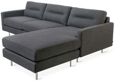 The Logan Bi-Sectional balances comfort with refined, modern style. The back cushions have a unique, channel-stitch detail which creates a subtle play of light and form. Compartmentalized cushions fil