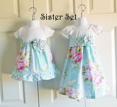 Matching Big Sister Little Sister Outfits - Peasant Dress and Onesie Dress - Picnic Bouquet in Blue - Sunshine Roses Collection Big Sister Little Sister, Little Sisters, Little Girl Dresses, Girls Dresses, Matching Sister Outfits, Onesie Dress, Baby Couture, Baby Gown, Coming Home Outfit