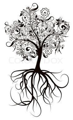 Stock vector of 'Decorative tree & roots , vector illustration'