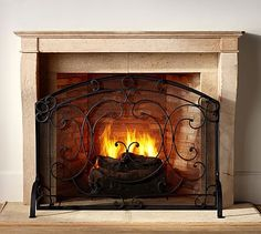 Aspen Fireplace Single Screen #potterybarn