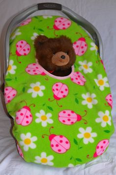 Reversible PeekABoo Infant Car Seat Cover/Pink by JansTutusAndMore, $35.00
