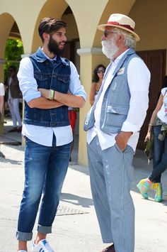 love the versatility of denim, especially these two very different vests paired with button-down shirts & ties // casual menswear summer denim style + fashion