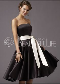 Black a-line strapless above the knee dress white sash - Google Search