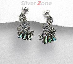 Cercei paun din argint cu marcasite si sidef abalone verde 11-1-i33495