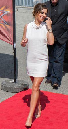 Cheryl Cole's cowl neck '60s inspired mini dress. www.handbag.com