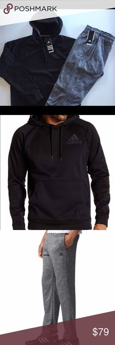 Adidas Fleece Pullover Hoodie and Pant Set Includes black hoodie and gray pant. Hoodie: Description: Adidas Men's Fleece Pullover  Hood with drawstring Interior locker loop Split front kangaroo pockets Heathered fabric Climawarm technology 100% Polyester Fleece Back Body Length (in): S = 28 | M = 29 | L = 30 | XL = 31 | XXL = 32  Pant Description: Adidas Men's Fleece Pant Elastic waistband with interior drawstring Two side pockets Tapered leg Climawarm Technology 100% Polyester Inseam (in)…