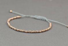 Rose gold silver adjustable bracelet.Silver Rose Thread