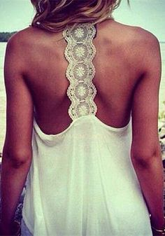 Crochet Lace Band Top - White