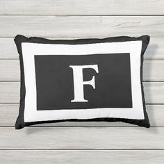 Personalized Monogram Black White Trendy Outdoor Pillow White Patio Furniture, Diy Outdoor Furniture, Diy Pallet Furniture, Unique Furniture, Monogram Pillows, Outdoor Pillow, Adulting, Decorative Throw Pillows, Age