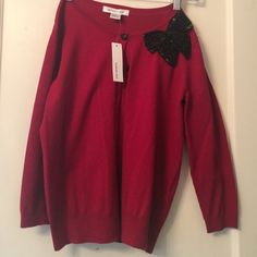 NWT August silk red embellished cardigan size S Gorgeous NWT cardigan with black sequin now embellishment august silk Sweaters Cardigans