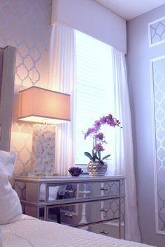Purple aubergine master bedroom. Grey walls. Casablanca wall stencil. ZGallerie bed.
