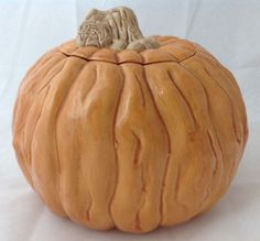 Vintage Ceramic Pumpkin Cookie Jar w Lid for Fall Thanksgiving Nowells Mold 1980