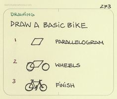 Pinner says: Draw a basic bike. Handy sequence taught me by Neal Moore. Drawing Lessons, Drawing Tips, Art Lessons, Drawing Stuff, Painting Lessons, Drawing For Kids, Art For Kids, Zentangle, Buch Design