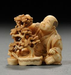 Ivory Netsuke, Japan, 19th century, carved in the shape of a bonsai master pruning a tree, signed on base, lg. 1 3/8 in. Japanese Folklore, Japanese Art, Asian Artwork, Bone Carving, Miniture Things, Auction, Ivory, Puppet, Shadows