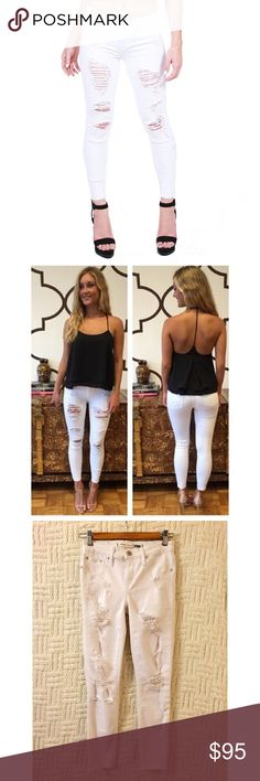 Lovers + Friends Ricky Skinny Jeans Lovers + Friends Ricky trashed distressed slashed destroyed skinny jeans in Muholland (white).  Mid-rise skinny jeans, stretchy.  Size 26.  100% cotton.  No trades {closet5} Lovers + Friends Jeans Skinny