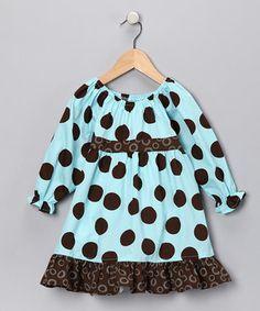 Beary Basis brown and blue polka dot dress