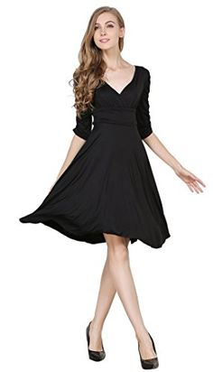 Womens 34 Sleeve VNeck Ruched Waist Cocktail Swing Slim Dress Black 2XL ** See this great product.