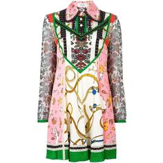 Coach multi print shirt dress ($1,120) ❤ liked on Polyvore featuring dresses, multicolour, multi colored dress, multicolored dress, print dress, white day dress and multi color dress