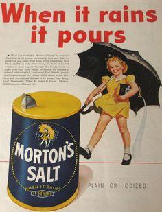 Retro Ads, Vintage Advertisements, Vintage Ads, Retro Posters, Vintage Food, Magazine Ads, Life Magazine, Morton Salt, Nostalgia