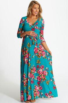 Jade-Vibrant-Floral-Draped-3/4-Sleeve-Maternity-Maxi-Dress #greenmaxi #floralprint #cutematernityclothes