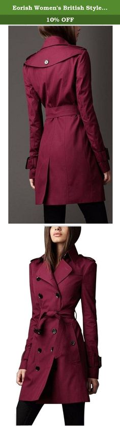 Eorish Women's British Style Elegant Double Breasted Slim Long Trench Coat (Asian XXL, Wine). Warmly Note: Asian size is smaller than US size. Please refer to this detailed size chart before you purchase. Choose larger sizes if your size are same as the flat measurement Size chart. Advice:Tag S: US 0; Tag M: US 2-4; Tag L: US 6; Tag XL: US 8; Tag XXL: US 10-12 Tile Size Chart of clothing (Inch): Tag S--Bust:33.86; Waist:29.9; Shoulder:15; Sleeve:22.6; Length:37 Tag M--Bust:35.43…
