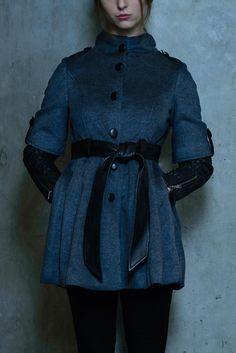 Chic high neck fit and flare pleated wool and cashmere blend princess coat with leather coated center button closure. Reversible leather and wool blend belt, sleeve detailed with basket weave half leather sleeve with epaulets along the shoulder. Lambskin Leather, S Models, Basket Weaving, Fit And Flare, Wool Blend, Weave, Cashmere, Coat, Link