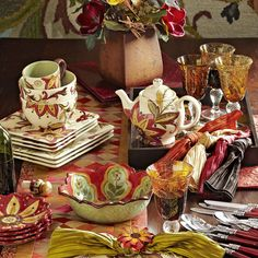 Pier 1 Carynthum Dinnerware and Serveware perk up the table with colorful blooms