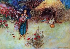 Folk Tales of Bengal 1912 At dawn he cut flowers Canvas Art - Warwick Goble x Warwick Goble, Indian Theme, 22 November, Arthur Rackham, Thing 1, Fairytale Art, All Nature, Book Gifts, Bengal