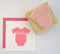 Baby Onesie Personalized Hand Carved Rubber Stamp by cupcaketree, $10.00