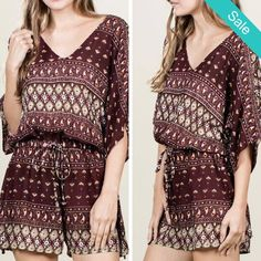 Hanna Romper - You are always quick to make friends and always quick to laugh your light heart friendliness keeps your social calendar full! Description: Printed romper with kimono sleeves and elastic waist. - On Sale for $29.00 (was $39.00)