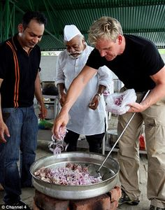 Ramsay cooking with an Indian Chef