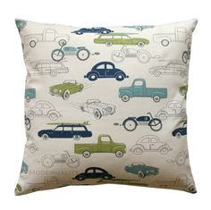 Childrens Pillow- Premier Print Felix Blue Retro Rides Pillow Cover- Choose Size- Zippered Pillow Vintage Cars Cushion Cover Boys Room on Etsy, $14.95