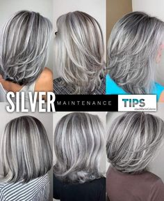 Silver Hair Maintenance Tips 1 week after dyeing your hair silver to wash it again. Leave your hair alone for 1 week after getting the silver so. Grey Hair Maintenance, Grey Hair Transformation, Medium Hair Styles, Curly Hair Styles, Gray Hair Highlights, Silver Grey Hair, Long Gray Hair, Silver Hair Colors, Grey Hair Colors