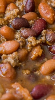 These savory and hearty Slow Cooker Steakhouse Cowboy Baked Beans are a simple side dish or main dish that's filled with beef, bacon and. Crockpot Dishes, Crock Pot Slow Cooker, Crock Pot Cooking, Slow Cooker Recipes, Crockpot Recipes, Soup Recipes, Cooking Recipes, Baked Beans Crock Pot, Chili Recipes