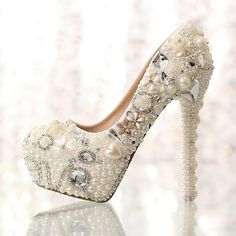 506a2d3e6a06 These gorgeous bridal shoes are luxuriously created with quality materials  and embellished with pearls or beautiful. Silver Wedding ShoesRhinestone ...