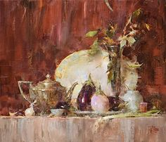 Shelf with Eggplant by Laura Robb Oil ~ 12 x 14
