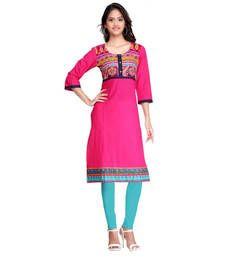 Buy Pink Designer Cotton Kurti kurtas-and-kurti online